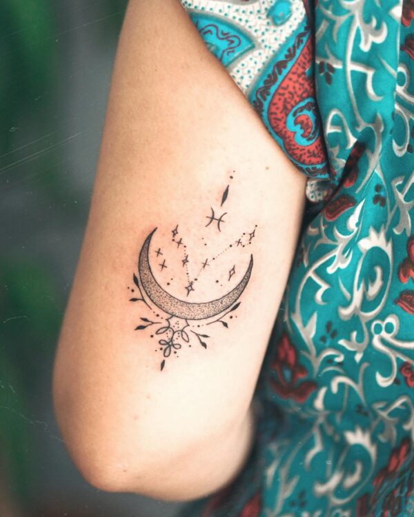 Pisces Moon and Constellation Arm Tattoo