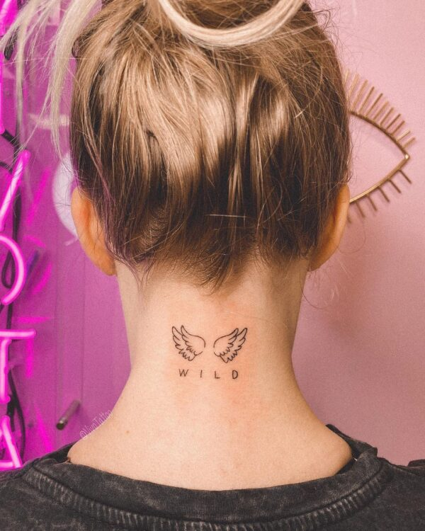 Wild Angel Wings Back of Neck Tattoo