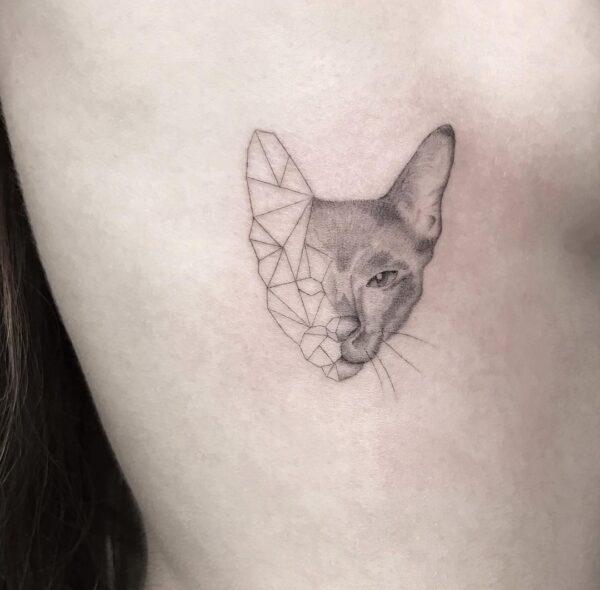 Geometric Cat Face Side Tattoo