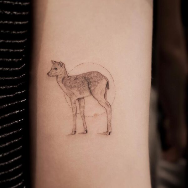 Bambi Deer Fine Line Upper Arm Tattoo
