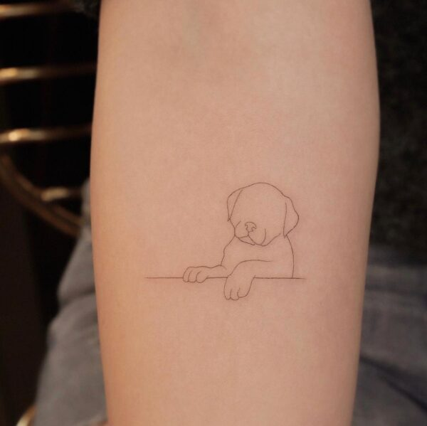 Mini Line Puppy Arm Tattoo