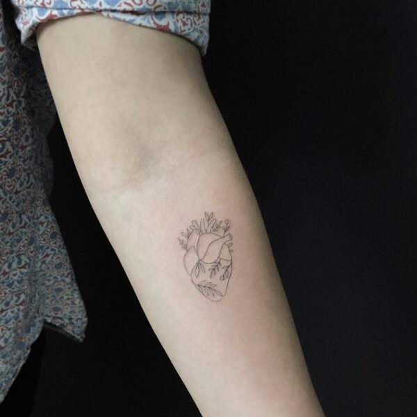 Mini Heart with Flowers Arm Tattoo