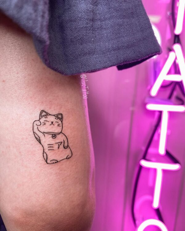 Maneki Neko Back of Arm Tattoo