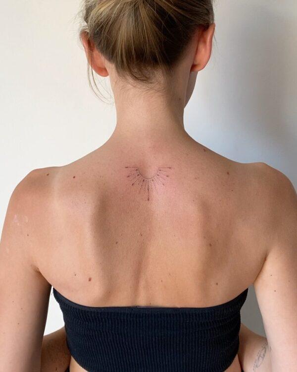 Half Sun Upper Back Tattoo
