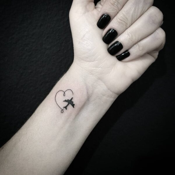 Mini Travel Airplane Heart Wrist Tattoo