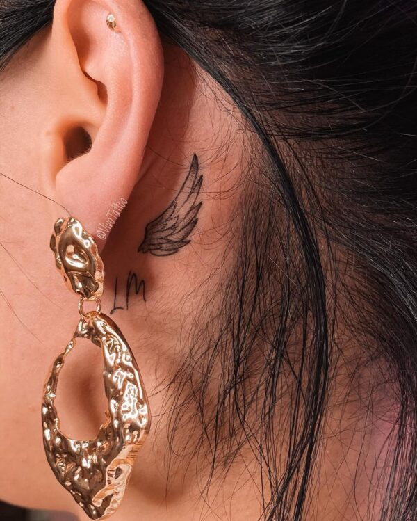 Angel Wing Behind the Ear Tattoo