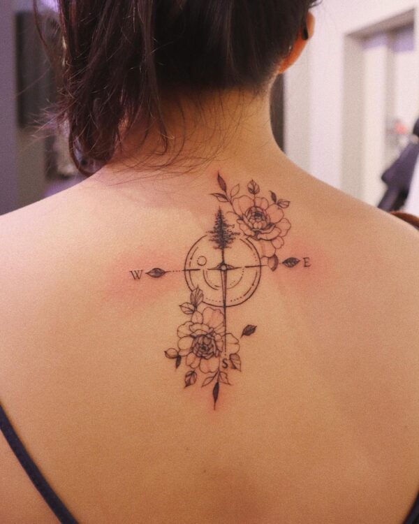 Compass and Nature Back Tattoo