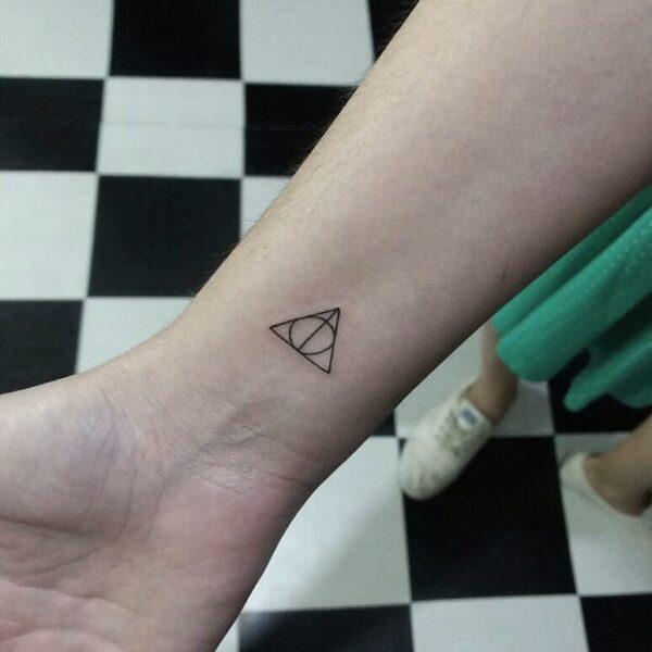 Mini Deathly Hallows Symbol Wrist Tattoo