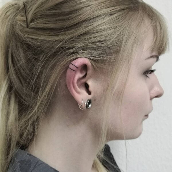 Mini Line Ear Helix Tattoo