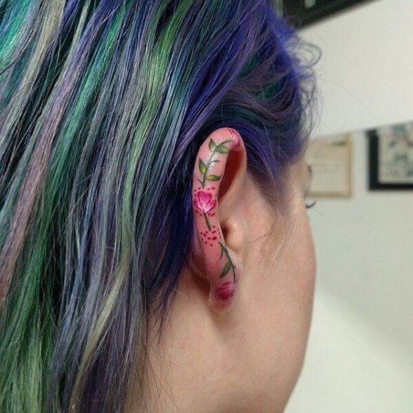 Mini Flower Ear Helix Tattoo
