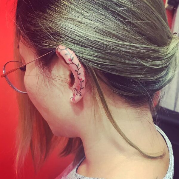 Mini Flowering Vine Ear Helix Tattoo