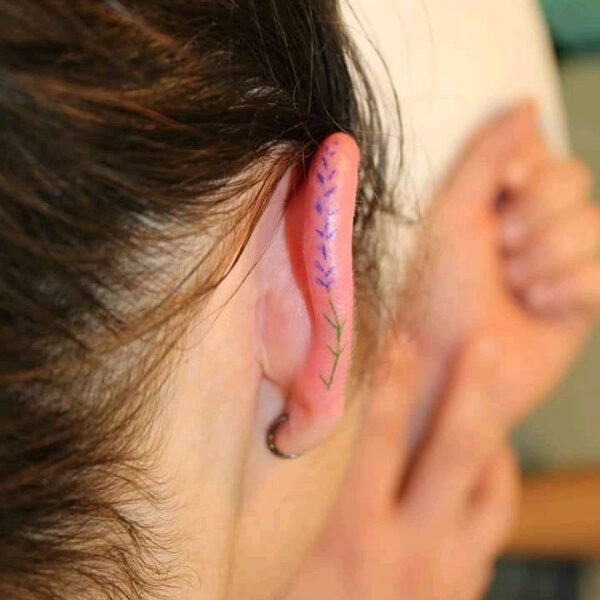 Mini Lavender Ear Helix Tattoo
