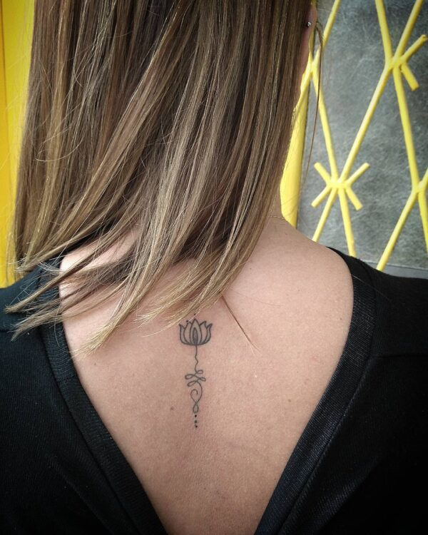 Unalome with Lotus Flower Upper Back Tattoo