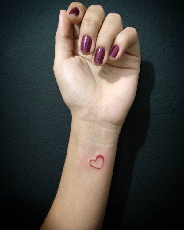 Mini Red Heart Outline Wrist Tattoo