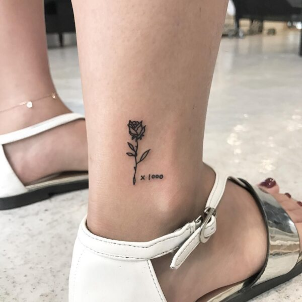 Mini Flower Rose Ankle Tattoo