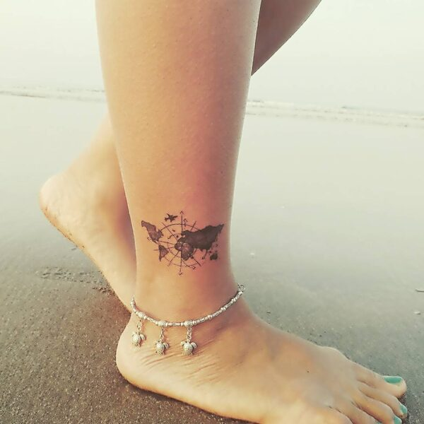 Travel Navigation and Map Ankle Tattoo