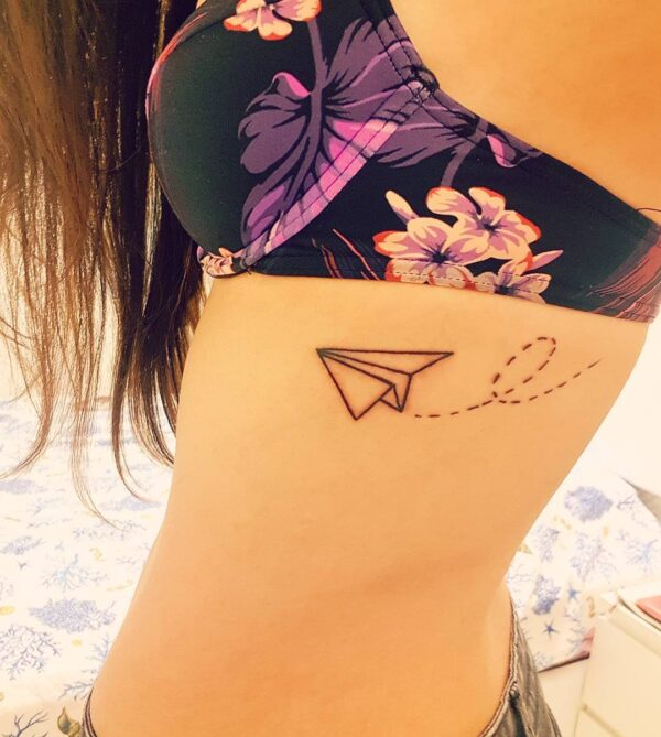 Paper Airplane Side Tattoo