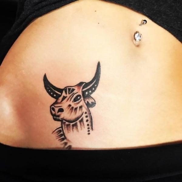 Zodiac Taurus Bull Pelvic Tattoo