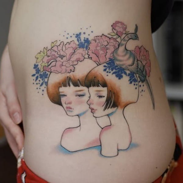 Zodiac Gemini Twins Watercolor Side Tattoo