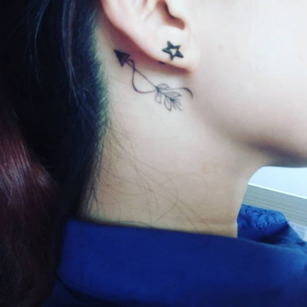 Zodiac Sagittarius Arrow Behind the Ear Tattoo